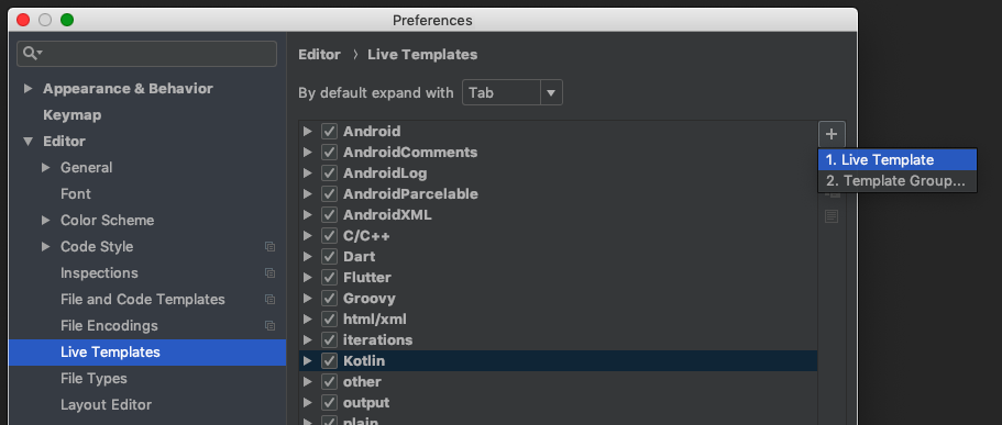 Preferences screen with add live template selected