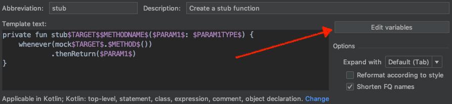 edit variables button placement