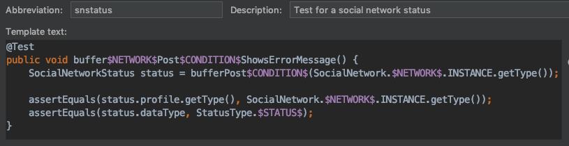 test network status template