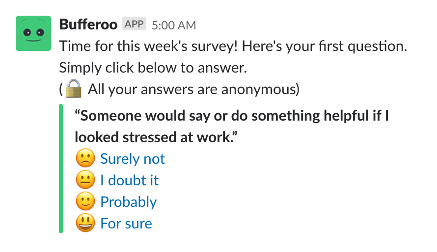 slackbot survey for tracking employee happiness