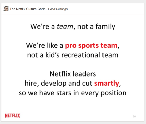 netflix culture code - not a family