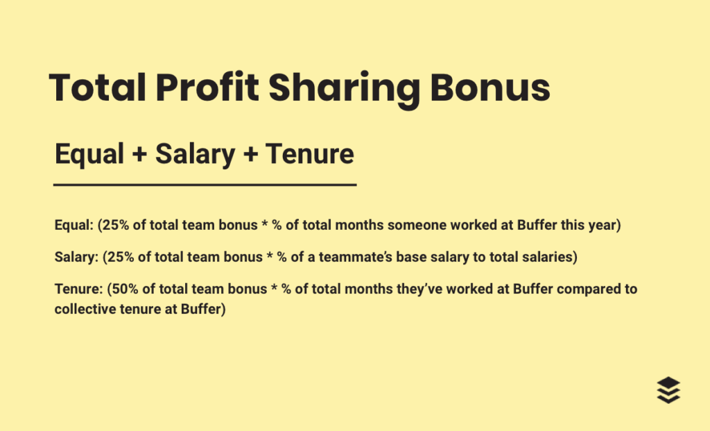 Tenure: (50% of total team bonus * % of total months they've worked at Buffer compared to collective tenure at Buffer)