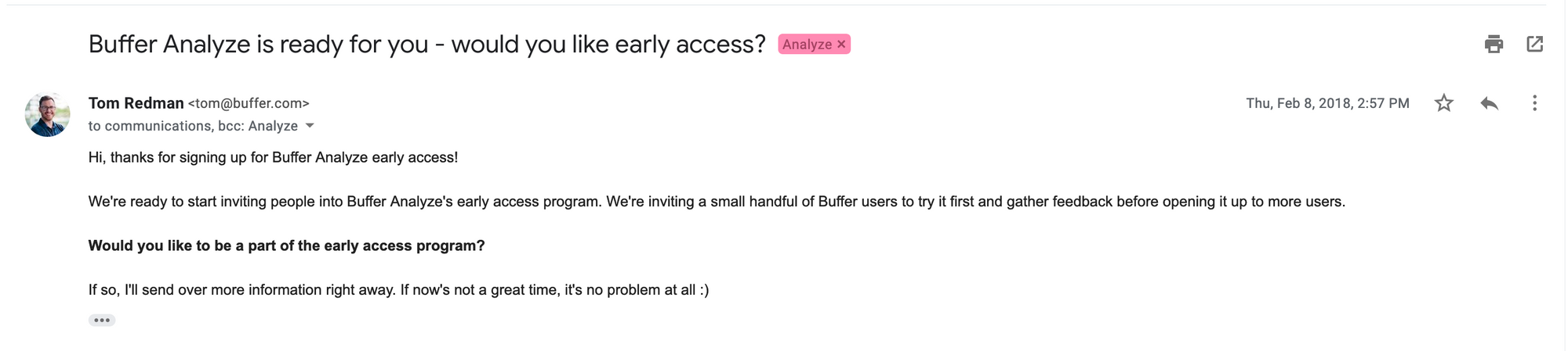 Analyze Early Access Email - Short