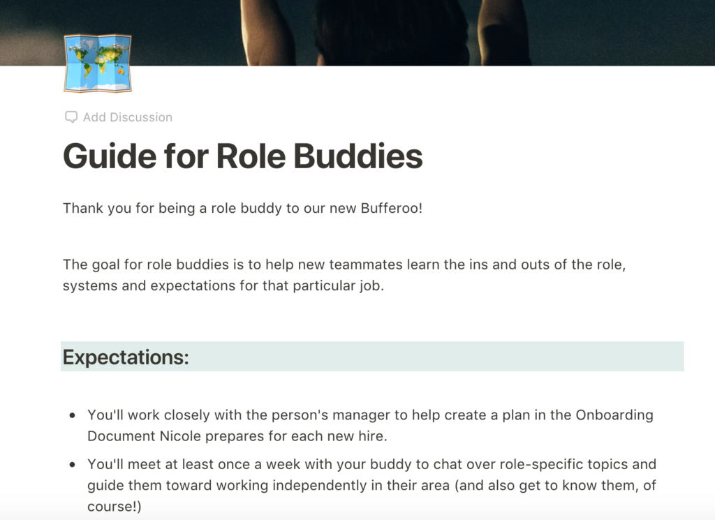An image of our Paper doc guide for role buddies