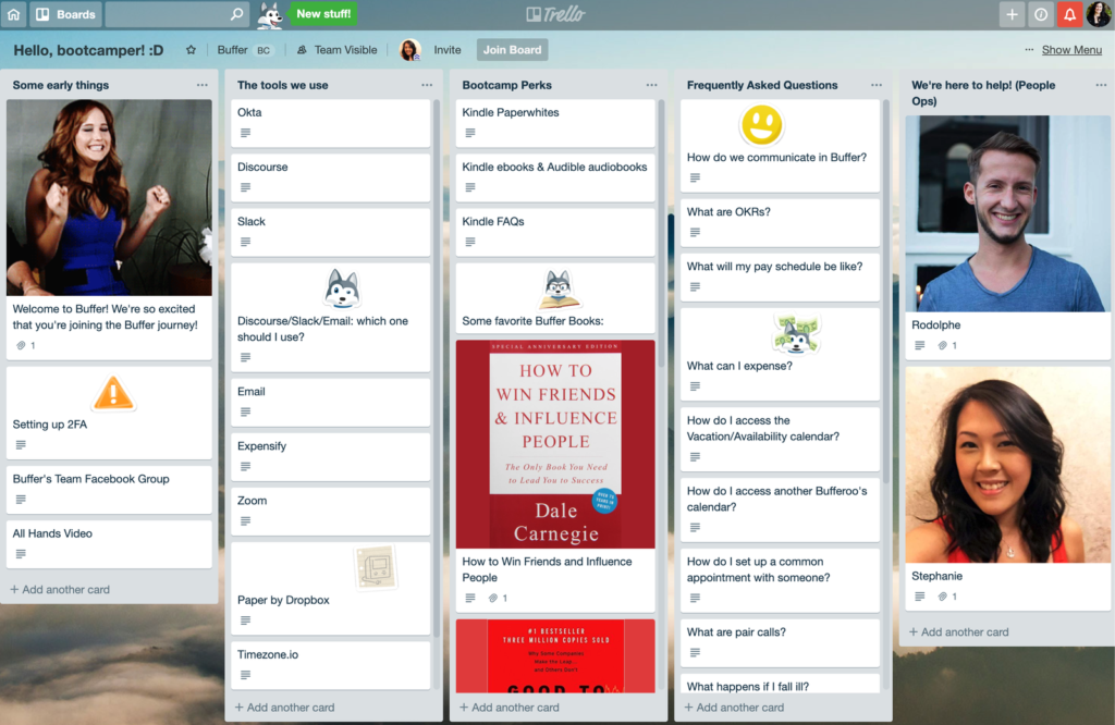 Photo of a Trello board with onboarding info