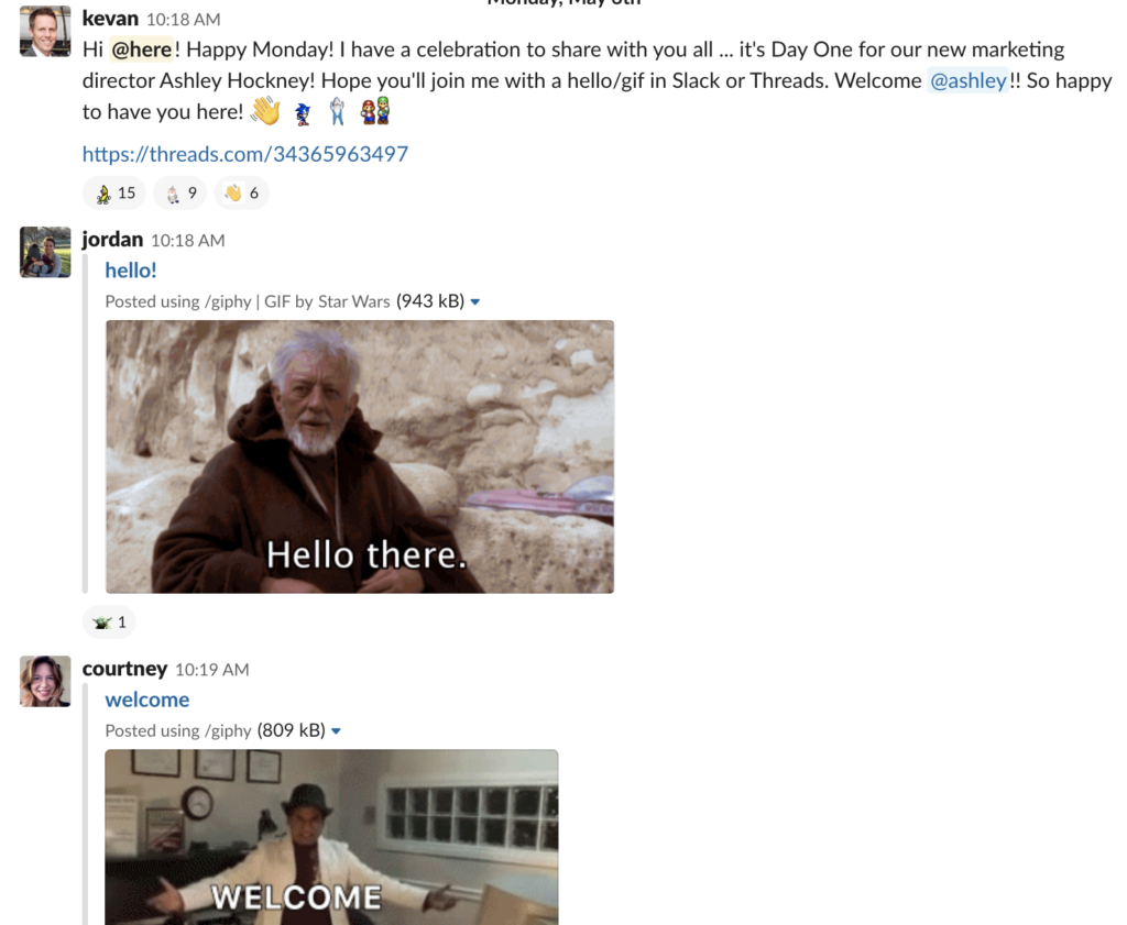 An image of our Slack group celebration when a new teammate joins